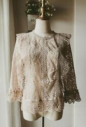 S Mauve Vintage Style Lace Top Blouse Shirt Small Boho Victorian Sheer New Nwt