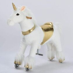 Ufree Mechanical Ride On Unicorn Horse Bounce And Move Gold 36 Age 4-9 See Photos