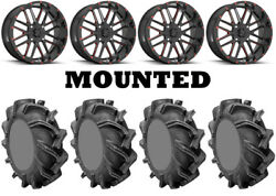 Kit 4 High Lifter Outlaw 3 Tires 38x9-22 On Msa M35 Bandit Red Wheels 1kxp