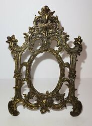 Vintage Art Nouveau Ornate Brass Stand Up Picture Frame / Vanity Mirror 12 1/4