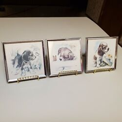 Vintage Paul Whitney Hunter Framed Beagle Puppies Sketch Litho Picture Art 3