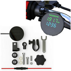 Dc 12v Motorcycle Tpms Tyre Temp Monitor Lcd Screen W/time And Voltmeter Display