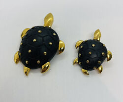 L'oree Du Bois France Vintage Pair Gold Plated And Wood Turtle Costume Pins