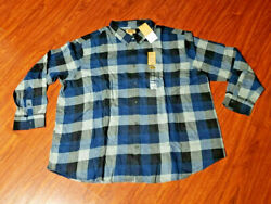 The Foundry Supply Co. Mens 4XL Blue Black Pocket Flannel Shirt $40 NEW TAGS