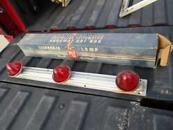 Vintage Red Truck Roof Cab Marker Clearance Lights With Plastic Lenses Nos