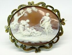 Big Museum Quality Shell Cameo 14k Gold Pendant Brooch Cupid Wings Clipped