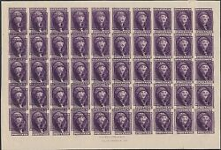 U.s. Peckmore Essay Sheet Of Fifty Violet Rare Double Impression 31021