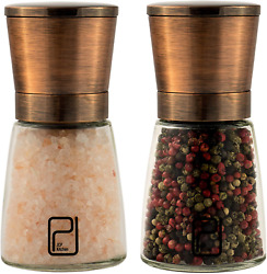 Premium Salt And Pepper Grinder Set - Best Copper Stainless Steel Mill For Home