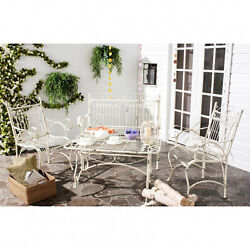 4 Piece Dinning Set Love Seat 2 Chairs Coffee Table Outdoor Guest Conversation