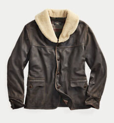 Rrl Double Rl Shearling Leather Jacket Coat Menand039s L Large Brown