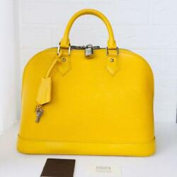 Louis Vuitton Alma Pm Mimosa Yellow M40951 Genuine Used Original F/s From Japan
