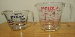 Vintage Pyrex 1 And 2 Cup Measuring Set Red And Blue J Handle