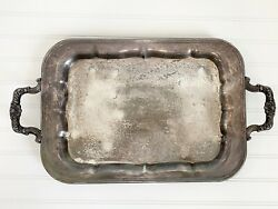 Vintage 1883 Fb Rogers Silver Co 1061 Ornate Footed Waiter Serving Tray