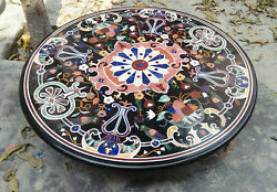 4and039x4and039 Black Marble Table Top Center Coffee Antique Home Decor Inlay Malachite