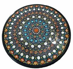 3and039x3and039 Black Marble Dining Center Side Coffee Table Top Inlay Malachite Multi