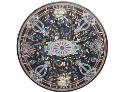 42and039and039 Black Marble Center Coffee Table Top Mosaic Turquoise Floral Inlay Decor