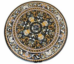 4and039 Black Marble Table Top Coffee Dining Room Decor Inlay Malachite Flower