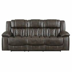 E-motion Furniture Polyester Fabric Deep Seating Recliner Sofa In Brown