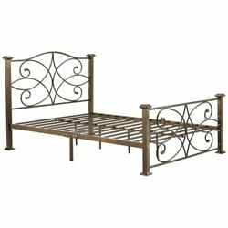 Pemberly Row Twin Metal Platform Bed In Gold