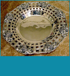 Breathtaking Sterling Basket By Shreve Sf Art Nouveau Relief сluster Of Grapes