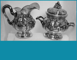 Gorgeous Italy 800 Silver Creamer And Sugar Baroque Style