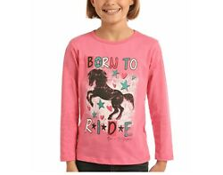 Rock And Roll Cowgirl Girls Born To Ride Horse Pink T-shirt G4t2251