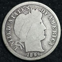 1896-s Barber Silver Dime Choice Vg Free Shipping E230 Klm