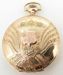 .c 1901 Waltham 14k Multicolour Gold 17 Jewel Menand039s 16s Pocket Watch - Serviced