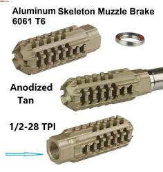 Tan Skeleton 1/2x28 Tpi Fit 22 223 556 Low Concussion Muzzle Brake Compensator