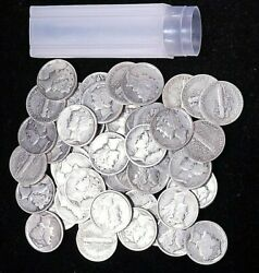1917-1939 Mercury Dime Roll 50 Coins Vg-xf Including Mintmarks Gc844