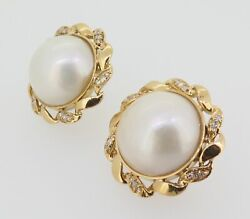 .vintage Pair Of 18k Gold Mabe Cultured Pearl And Diamond Earrings Val 6060