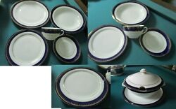 Zsolnay Hungary Dinner Setting Plates Cups Saucers Gold Cobalt Border Pick 1