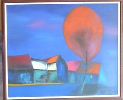 Dao Hai Phong Large Oil Painting Vietnam Village With Red Tree Vietnamese Art