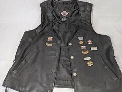 Harley Davidson Sz Large Leather Vest With Pins And Patches Nice. Awesome Pics