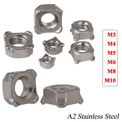 Square Weld Nuts M3 M4 M5 M6 M8 M10 Metric Coarse Thread Stainless Steel Din 928