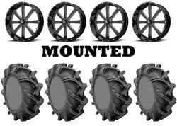 Kit 4 High Lifter Outlaw 3 Tires 35x9-20 On Msa M34 Flash Black Wheels Can