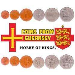 Set Of 6 Coins From Guernsey 1/2, 1 New Penny, 2, 5, 10, 50 New Pence 1968-1971