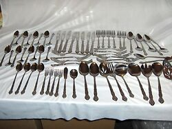 Vintage 62-pc Set Stainless Flatware Satin And Glossy Korea Pattern And Maker Nice