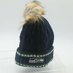 Seattle Seahawks Nfl Youth Girls 7-16 Osfm Winter Knit Beanie Hat Cap New Tag
