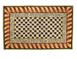 Mackenzie Childs Courtly Check Red And Gold Rug 5x 8
