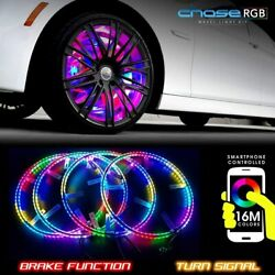 Led Wheel Lights 15.5 4 Wheel Set Color Chasing Moving Wireless By App For Cars
