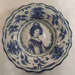 Antique Dutch Delft Royal Lobed Dish Portrait Of Queen Mary C1700 Blue Decorated