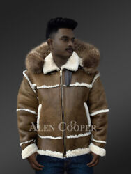 Menand039s Shearling Bomber In Olive With Hood