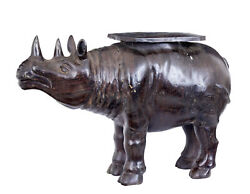 Early 20th Century Cast Bronze Rhino Occasional Table
