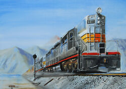 Original Oil Painting Railroad Freight Train Southern Pacific Sp American Art