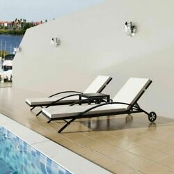 Us Sun Lounger Set Poly Rattan Wicker Black Outdoor Seating Bed Garden