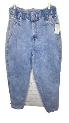 Paperbag Waist Jeans Size 14 Womens Light Wash High Rise By Vintage X America