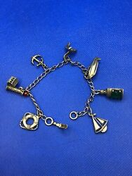 Vintage Beau Sterling Silver Charm Bracelet With 7 Adorable Charms