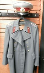 Vntg Russian Soviet Military Army Coat And Cap Uniform Officer Overcoat Wool Ussr