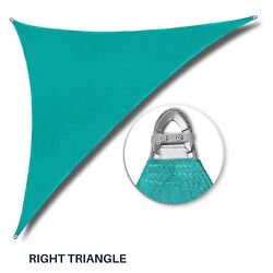 Turquoise 32-48ft Right Triangle Heavy Duty Steel Wire Sun Shade Sail W/8 Kit